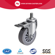 Mini 2.5 Inch 30Kg Threaded Brake TPE Caster