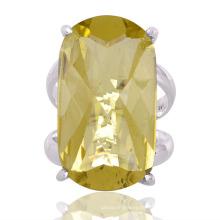 Schöne Zitrone Quarz Edelstein 925 Sterling Silber Ring