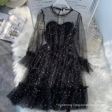 Fashion Solid Color Fairy Skirt Mesh Lace-up Girl Dress
