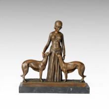 Klassische Bronze Skulptur Dame Dogs Dekor Messing Statue TPE-179