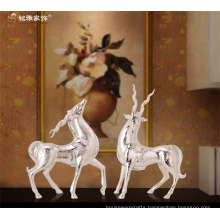 Modern couple sculpture casting silver resin deer statue for indoor and hotel decor
