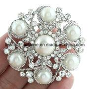 Custom Bulk Flower Rhinestone Brooch with Pearl (TB030)