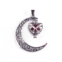 Cornaline Gemstone Moon - Collier avec pendentif en argent plaqué