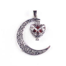 Carnelian Gemstone Moon Silver Plated Charm Pendant Necklace