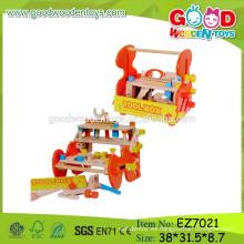 Juguete popular del banco de la herramienta de la venta caliente, juguete del banco de madera de los niños, juguete del banco de los cabritos de DIY