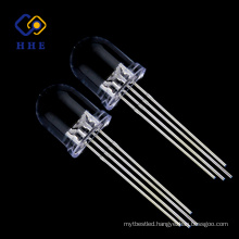 Top Quality 8mm round RGB led Common Anode water clear