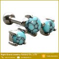 Turquoise Stone Helix Cartilage Barbell Prong Set 3 Turquoise Stone Ear Tragus Barbell