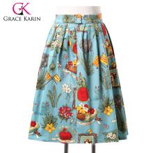 Grace Karin mujeres plisadas de gran tamaño de la falda de la vendimia Pinup 50S 60S falda de impresión floral de algodón CL6294-6