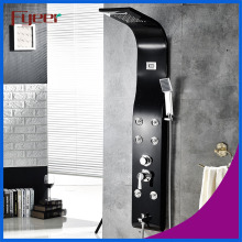 Fyeer Temperature Display Massage Rainfall Stainless Steel Black Shower Panel