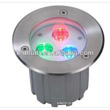 Lâmpadas led subterrâneas de alta potência IP66 3W RGB
