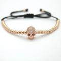 Hommes mode bijoux, perles de 4mm perles rondes plaqué noir squelette tête tressé Bracelets le bijoux de mode européenne & américain