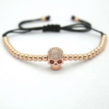 Men Fashion Jewelry,4mm Black Plated Round Beads Skeleton Head Beads Braided Bracelets The European &American Fashion Jewelry