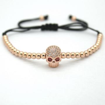 Мужские ювелирные изделия, 4 мм черный покрытием круглые бусины бусины скелет головы плетеные Браслеты Европейской & американская мода ювелирные изделия