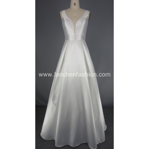 White Deep V Ball Gown Prom Dress