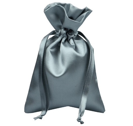 silver satin bag pouch