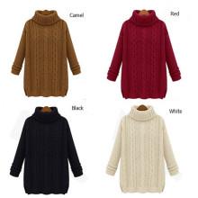Мода Loose Высокая шея кабельного стиля вязать леди свитер