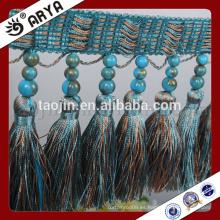 Cortina de tres perlas decorativas y franja de borla para textiles para el hogar