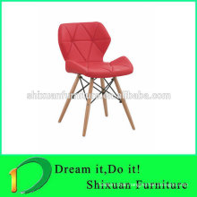 colorful PU seat wood legs coffee chair