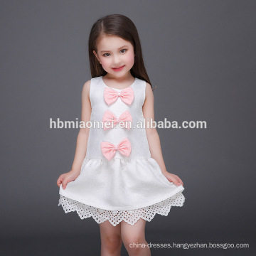 White Flower Medium Style of Length and Sleeveless Design From China 3-5 Year Old Girl Dress
