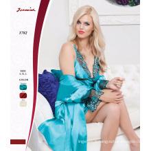 Mint Color Guipure Luxary Chemise de nuit avec Robe