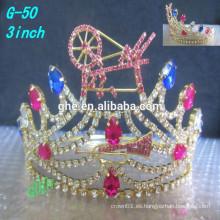 La nueva princesa clara de la tiara del desfile del Tiara del rhinestone de la alta calidad libera coronas para los cabritos