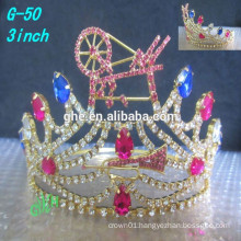 New High Quality clear rhinestone Tiara wholesale pageant tiara princess crowns for kids