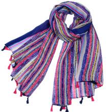 2017 nouvelle arrivée couleur bande coloré impression foulard en viscose en gros écharpe hijab femmes