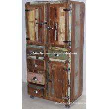 Recycled Old Timber Drwaer Schrank Kühlschrank Stil