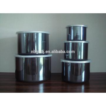black high enamel ice bowl with PE lid