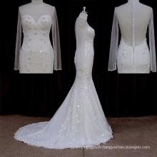 2016 robe de mariée sexy avec voir à travers des sangles à manches