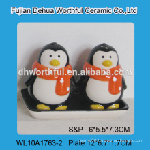 Hand made ceramic salt and pepper shaker set with penguin design