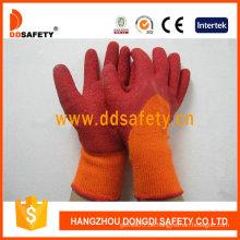Orange T / C Shell mit rotem Latex glatt fertigen Handschuh (DKL712)