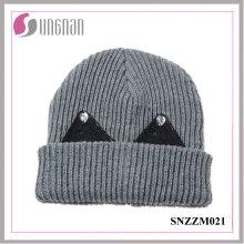 Mejor diseño de invierno cálido gorro de lana gruesa dulce Rhinestone oído sombrero de punto
