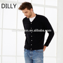 Men new design little V neck business casual long sleeve knit cardigan sweater