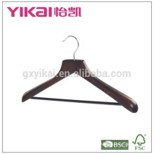 Wide shoulder coat wooden hanger with round bar and in antique color