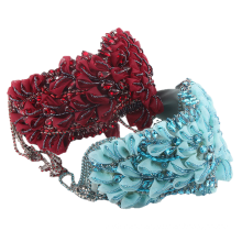 Bandeau cheveux tali rambut Hyperbolic Wide Lace Chain Designer Wide Headband Luxury Hair Accessories Fashion Crystal Flower Hairband Party Ball Show Gift