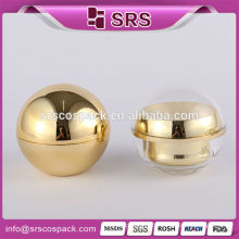 Ball acrylic cosmetic cream jar, luxury ball shape plastic gold cosmetics jar wholesale