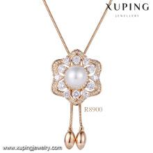 Xuping 18k Goldperlenhalskettenentwürfe, Frauen späteste Kornhalskettenentwürfe, arbeiten einzelne Perlenhalsketten-Schmuck um