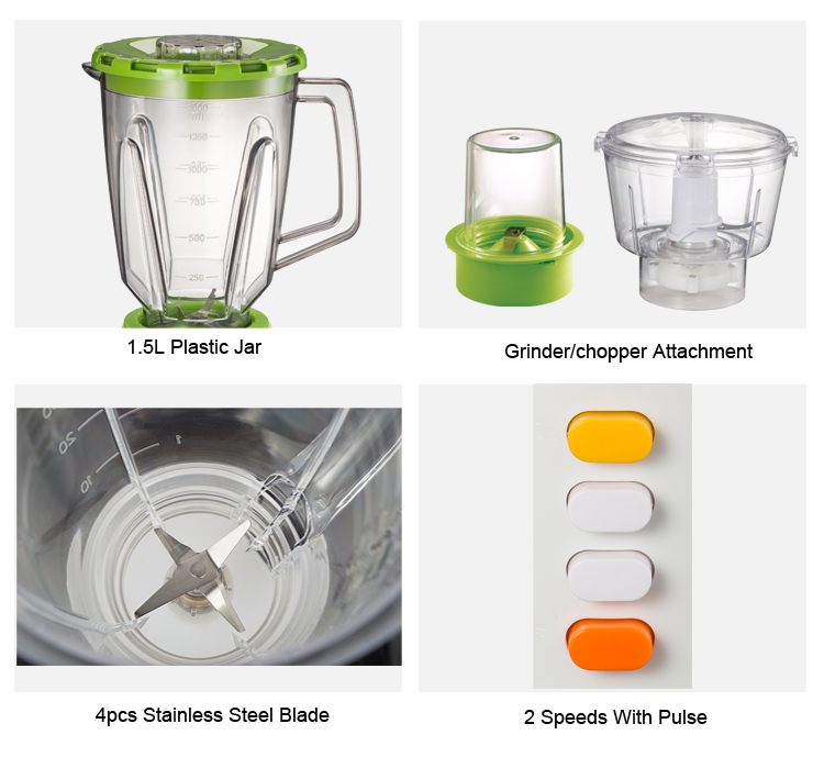 4-Leaf Stainless Steel Blade Blender With Food Chopper