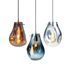 Contemporary Hotel Restaurant Decor Copper Light Ball Glass Pendant Lamp