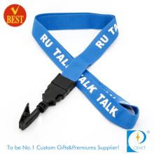 Personalizado de alta qualidade lisa poliéster tela impresso cordão com clipe no preço de fábrica