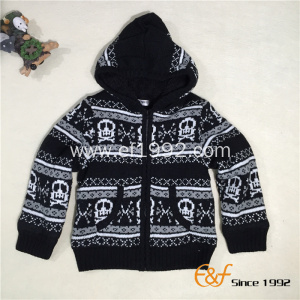 Boy's Classic Black-white Color Full Zip Hoodie Sweater