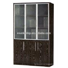 Estante de libro de roble oscuro de tres puertas para la oficina usada, muebles de oficina de Commerical (KB843)