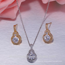 925 sterling silver wedding banhado a ouro 925 conjuntos de jóias de prata esterlina