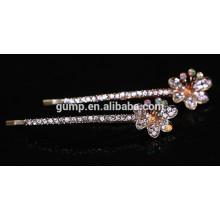 2015 Neuer Blumen-Entwurf Reizend glänzender Kristallbarrette Rhinestone-Bobbystift