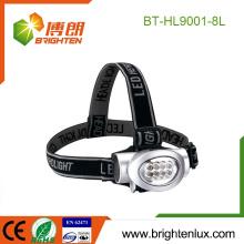 Fuente de fábrica OEM ABS Material Precio barato 3 * aaa batería operado Emergencia 8 llevó la luz principal Headlamp camping con la correa principal