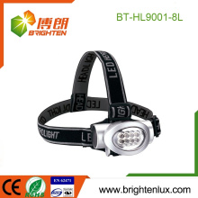 Factory Supply OEM ABS Material Cheap Price 3*aaa battery Operated Emergency 8 led Camping Headlamp Head Light with Head Strap