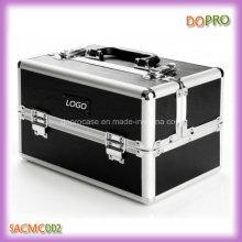Sólido negro mate PU cuero cosmético caso profesional (SACMC002)