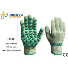 Anti-vibración T / C Shell con espuma de látex puntos guantes de trabajo de seguridad recubiertos (L8500)