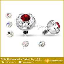 316L Surgical Steel 4mm Multi Gem Jeweled Dermal Anchor Top